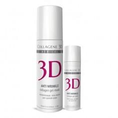 Коллаген 3Д Гель-маска для лица ANTI WRINKLE с плацентолью коррекция возрастных изменений для зрелой кожи 130 мл Collagene 3D