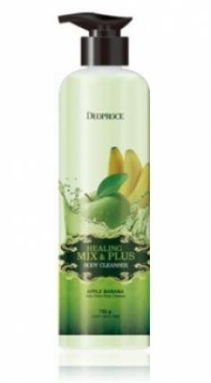 Гель для душа Ароматерапия - Яблоко-Банан DEOPROCE Healing mix & plus body cleanser apple banana 750г