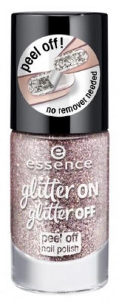 Лак для ногтей с глиттером ЕSSENCE Glitter On Glitter Off 02 розовый Essence