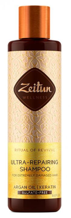 ZEITUN Шампунь с арганой и кератином для сильно поврежденных волос Ритуал восстановления 250 мл