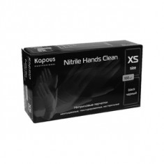 Нитриловые перчатки неопудренные, текстурированные, нестерильные «Nitrile Hands Clean», черные, 100 шт., р-р XS (Kapous Professional)